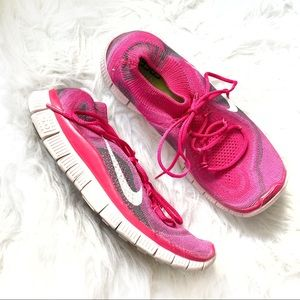 Nike Free pink and white running sneakers size 8.5